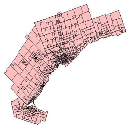 1964 Metropolitan Toronto and Region Transportation Study Traffic Zone Boundaries
